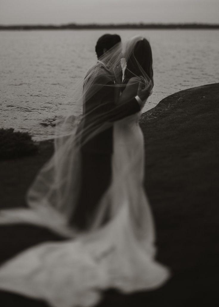 Voile de mariée, photo couple maries noir