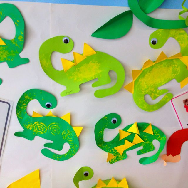 Dinosaurs and triangles craft could use different shapes for Dinosaur crafts for preschool