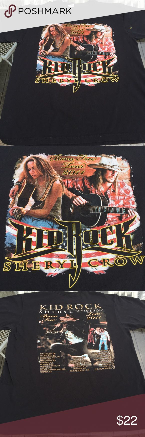 """Kid rock concert T-shirt 2011 Sheryl crow M/L 2011 kid rock Bore Free concert tour tee with Sheryl crow. Back has cities on tour, reads size medium and runs on the large side. Measures 43x27"""" Tops Tees - Short Sleeve"""