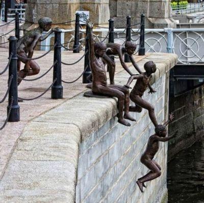 Jump Inside the River Sculpture Art