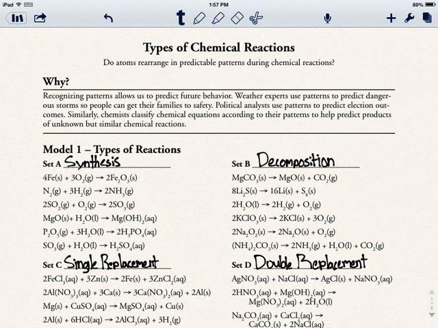 Pogil Types Of Chemical Reactions Worksheet Answers ...