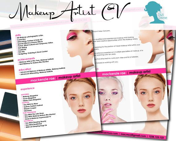 Makeup Artist CV Template $1000AUD from The Digi Dame Etsy Shop - makeup artist resume template