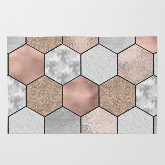 Marble Hexagons And Rose Gold On Black Rug Bath Rose