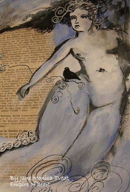 Blue angel - Mixed media By Jane MOnica Tvedt