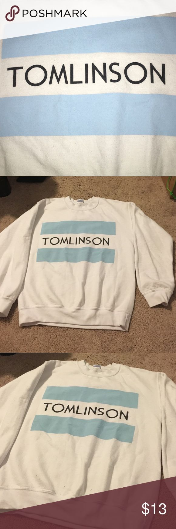 TOMLINSON white pullover One directions Louis Tomlinson sweatshirt in toms logo...from etsie Tops Sweatshirts & Hoodies