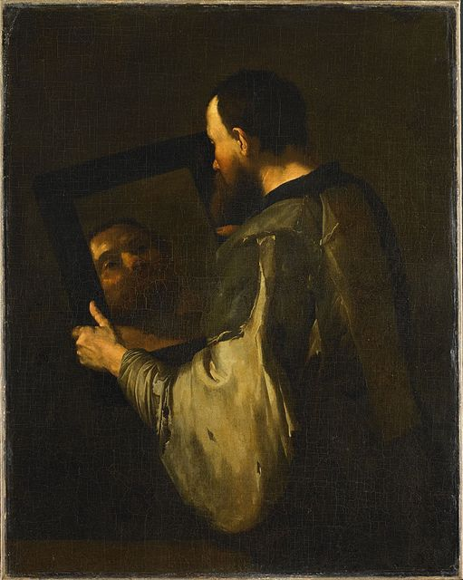 Philosopher with mirror, 1652 - José de Ribera (Spanish 1591 – 1652)