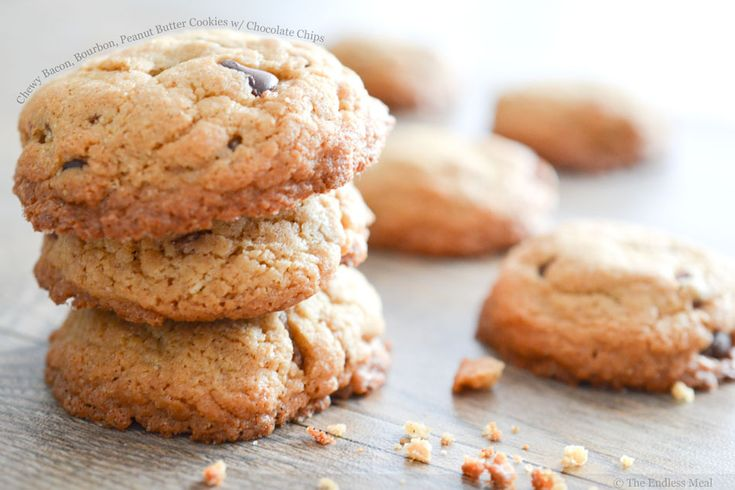 Chewy Bacon, Bourbon, Peanut Butter Cookies with Chocolate Chips: Yes Please, Peanuts, Chocolates Chips Cookies, Chocolates Cookies, Peanut Butter Cookies, Bacon Bourbon, Favorite Recipe, Bourbon Peanut, Pb Cookies