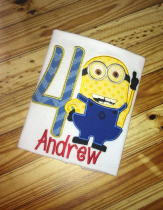 Minion Despicable Me Birthday Applique Embroidery  by AuntieDonnas, $20.00