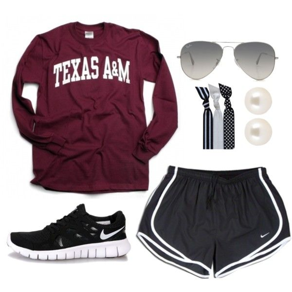 """Game Day"" by southernprepgirl on Polyvore college t-shirt Nike Tempo shorts football"