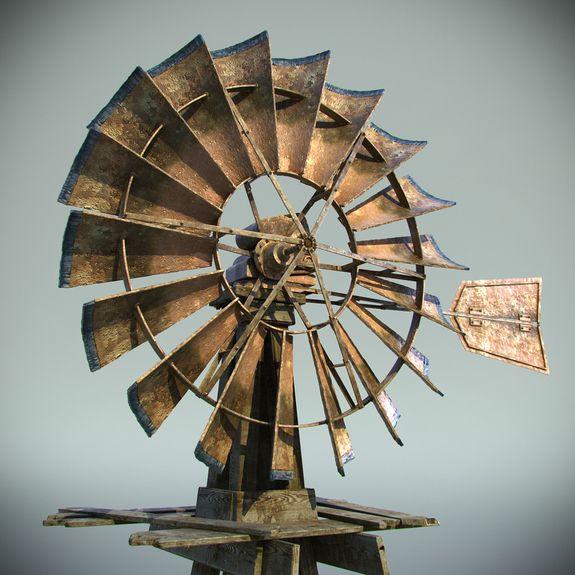 Old Farm Windmills   Old Farm Windmill 3D Model
