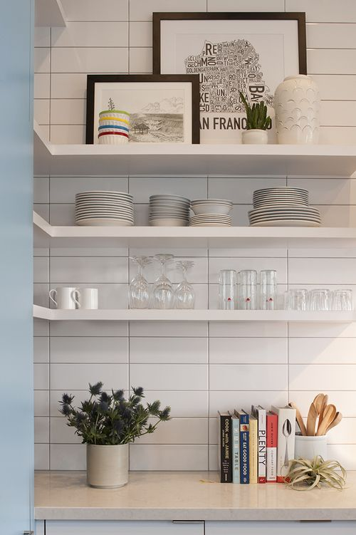 Vertical Stacked Tile Floating Shelves Kitchen Wall