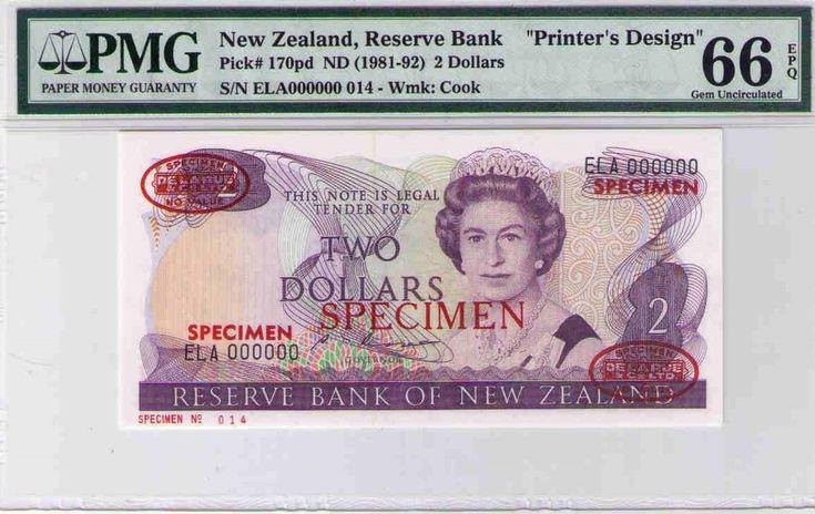 "New Zealand,""Printer's Design"" TWO DOLLARS SPECIMEN ELA 000000 014PMG 66 GEM UNC"