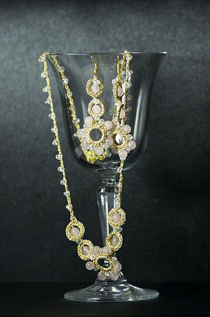 Parure collier e orecchini #crochet#pietre#swaroskj#argento