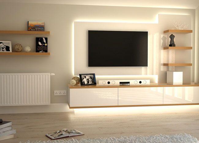 Home Interior Design — Tv wall. #livingRoom Leds #lighting Interior…