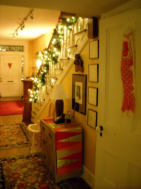 our front stairs at chistmas