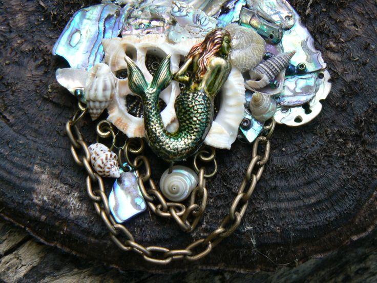 mermaid grotto necklace mermaid siren abalone seashells  resort wear cruise wear beach wear high fashion gypsy boho. $50.00, via Etsy.