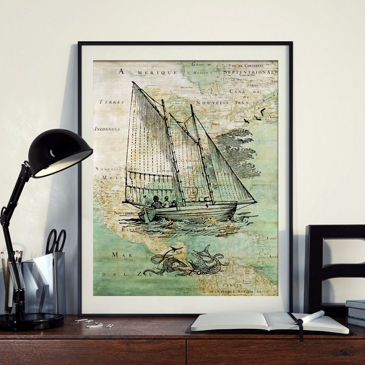 Vintage Map of North America Mermaid Boat Yacht Sailing Seaside Nautical Poster Instant Download Printable A4 A3 8×10 & 11x14 Wall HQ300dpi by ZikkiArt on Etsy