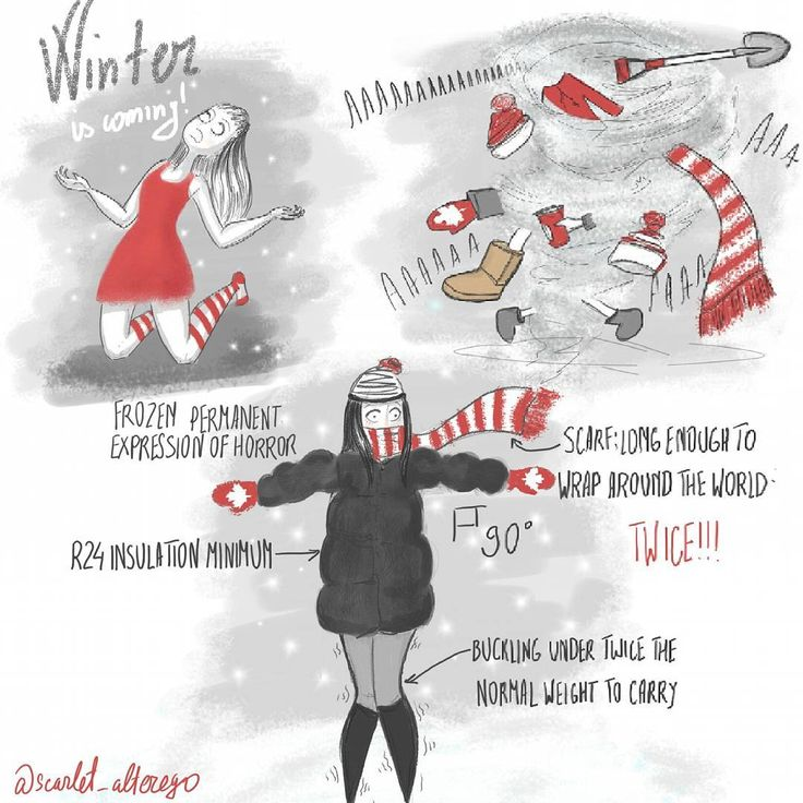 Of Red and Other Colors (@scarlet_alterego) WINTER IS COMING: Canadian edition.  #canadianwinter #snow #cold #scarlet_alterego #illustration #cartoon #comic #characterdesign #characterdesign #story #diary #self #humour #ofredandothercolors #toronto
