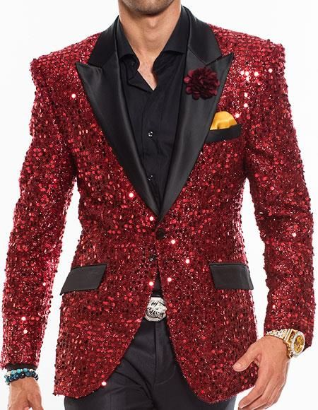 ca6682fd1  250 Sku Ch1115 Mens Sequin Paisley Red Dinner Jacket Tuxedo Blazer Glitter  Sparkly Sport Coat Peak Lapel