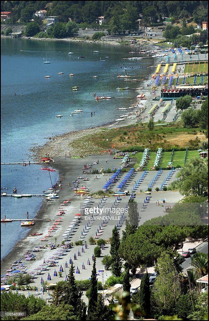 The beach of Castel Gandolfo on the lake of Albano in Castel Gandolfo, Italy