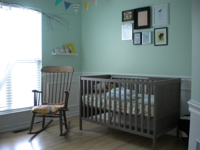 aqua walls with ikea sundvik crib in gray brown nursery. Black Bedroom Furniture Sets. Home Design Ideas