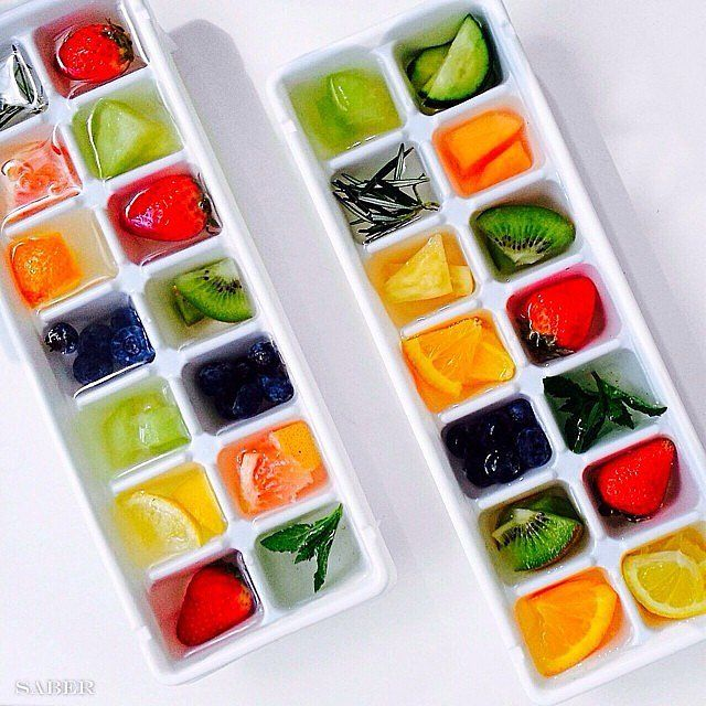 "Fruit-filled ice-cube trays are the new ""in"" thing — are you doing it yet? A glass of iced water never tasted so good, let us tell you. Source: Instagram user kayla_itsines"