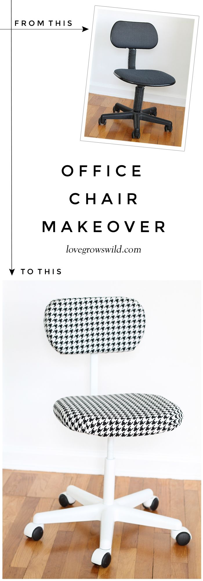 A $5 thrift store find turned into a sleek and stylish office chair! See the awesome step-by-step transformation at LoveGrowsWild.com