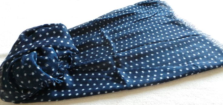 Rocco - Polka dot designs are always so popular. Rocco is a delight: a lightweight oversized scarf in navy / white with a delicate fringe finish £15.95