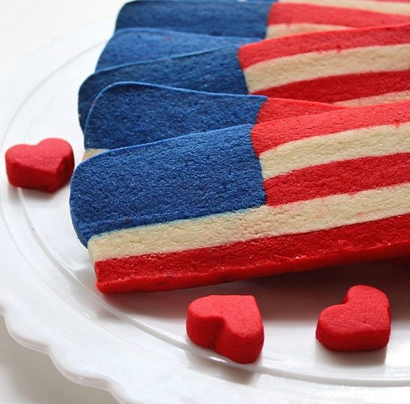 Red White and Blue Flag Shortbread Cookies | SugaryWinzy