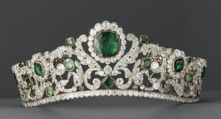"DUCHESSE d'ANGOULÊME EMERALD AND DIAMOND TIARA    Exceptionally rare as it survived the French Revolution, Restoration and both installations of the Empire. The tiara was commissioned by the duc d'Angoulême, made by the Brothers Bapst, who created this ""masterpiece of early 19th jewelry"". The tiara actually curves up in the center to fit the contour of the wearer's head. A tiara with ergonomics. Lavish.     It is now in the Louvre Museum in Paris."
