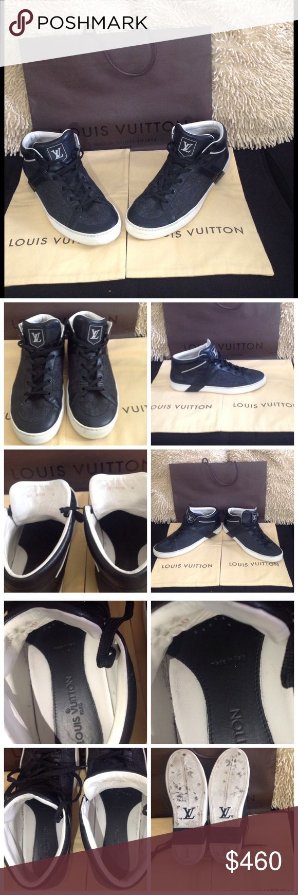 Louis Vuitton men's shoes size 8 Great condition, comes with 2 dustbags & the shopping bag, 100 %authentic, smoke and pets free home, size 8, made in Italy, thanks for looking  Louis Vuitton Shoes Sneakers