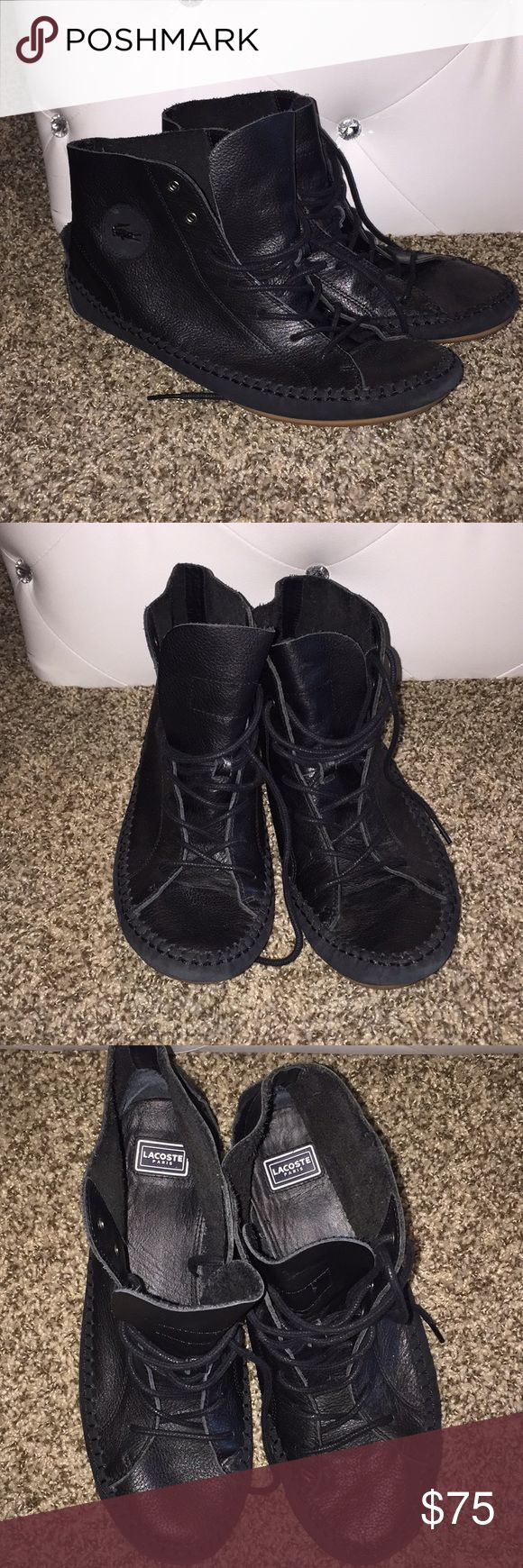 Women's Lacoste Moccasin Booties Excellent condition. Worn only once. Leather moccasins with rubber soles. Lacoste Shoes Moccasins