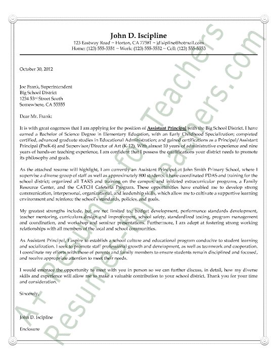Attractive Assistant Principal Cover Letter Sample Or Example. AKA Letter Of Intent Or  Letter Of Interest. It Includes His Credentials To Indicate He Is Qualified. Amazing Ideas