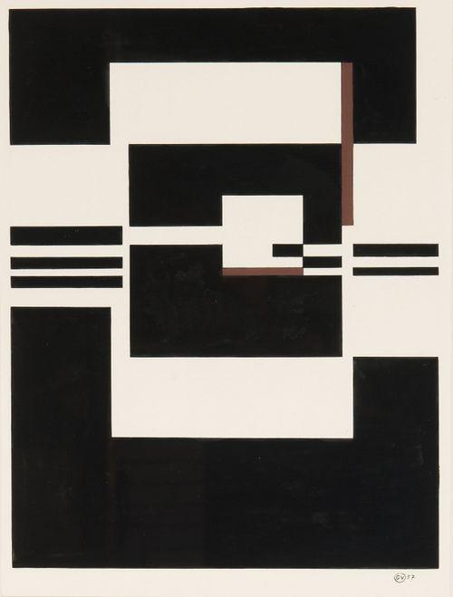 GuyVandenbranden (Belgian, b. 1926), Composition, 1957. Gouache, 46.5 x 35cm.
