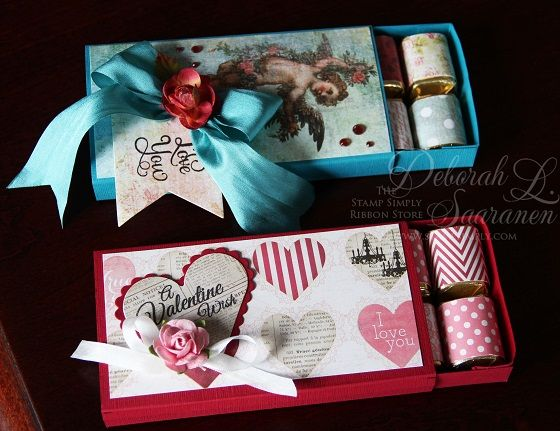 Hershey Nugget Valentine Boxes by Deb Saaranen for The Stamp Simply Ribbon Store.