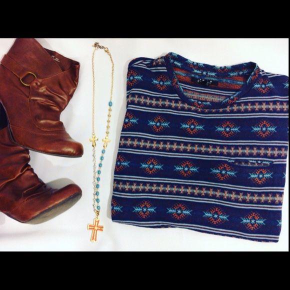 Blue Aztec Tee Cute casual Tshirt with aztec pattern. 21Men Tops Tees - Short Sleeve