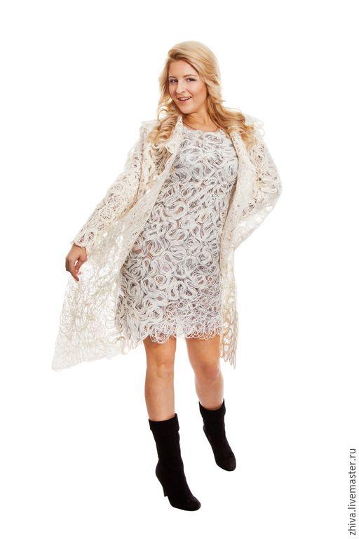 Купить Пальто Вологодское кружево 2 - белый, летнее пальто, летний жакет, лен, вискоза