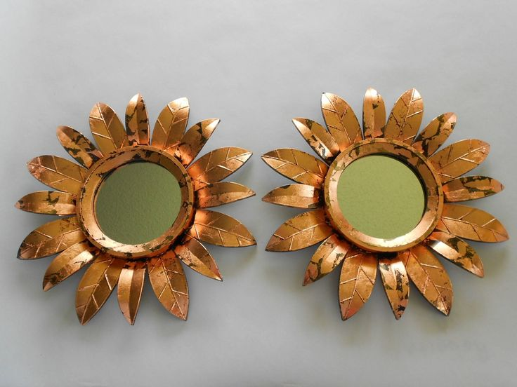 "10""H, Wall Mirrors, Copper Leaf, Sunburst Mirrors, Copper Sun Mirrors, Copper Sunburst, Copper Frame Mirrors, Wall Mirrors, Item CSM 10001 by GoldLeafGirl on Etsy"