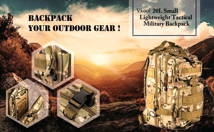 Vkool 20L Military Molle Backpack Small Tactical Backpack for Outdoor Sports
