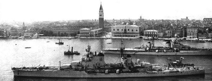 Italian 8 in cruisers Pola (foreground) and Zara at Venice in 1939 - the former has additional bridgework to accommodate an Admiral's staff; Zara was the lead ship of the class.  Both were sunk by the Royal Navy at the Battle of Cape Matapan in March 1941, together with their sister Fiume.