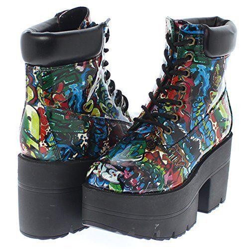 Shoe Republic Chunky Platform Lace Up Ankle Work Boots Adam (Graffiti 7) -  Sale