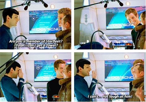 Cracking up the Vulcan. I just love how cute this blooper is!