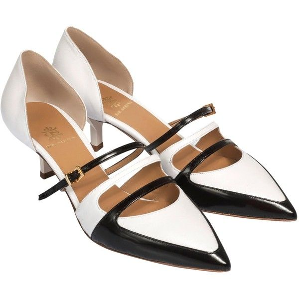 De Siena - Tyene Black & White Pumps (335 CAD) ❤ liked on Polyvore featuring shoes, pumps, white and black pumps, kitten heel shoes, mid heel pumps, leather sole shoes and mid-heel pumps