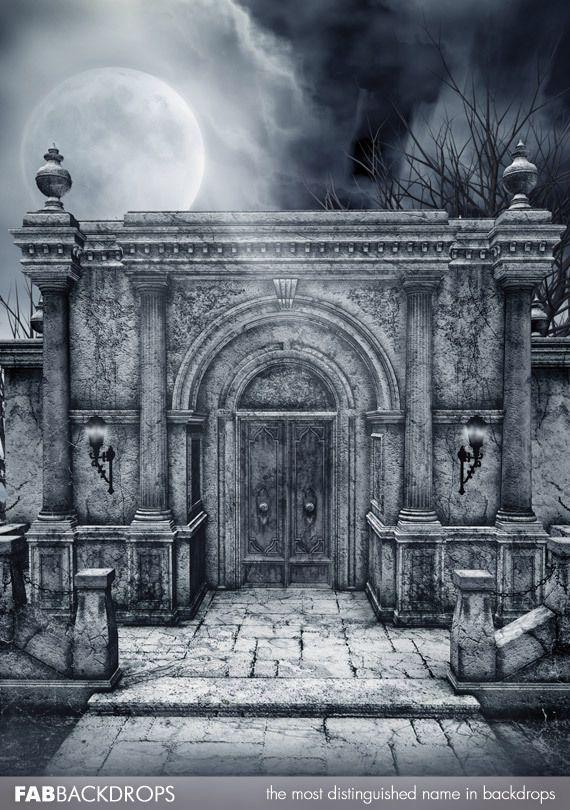 Haunted Crypt Halloween Backdrop
