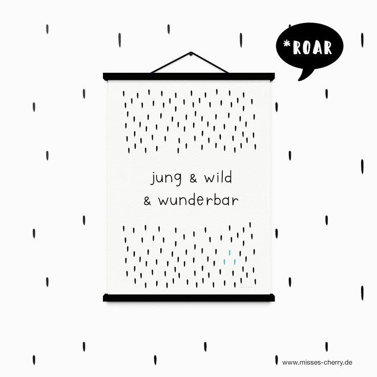 Misses Cherry: Freebie | Kinderzimmer-Print Jung & wild & wunderbar #black&white #kidsroom #freeprintabe