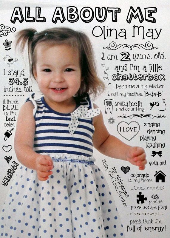 Small Customized Year Review Infographic - Baby's First Year. Birthday Gift, 1st Year Photo, Statistics, Milestones, Scrapbook, Collage