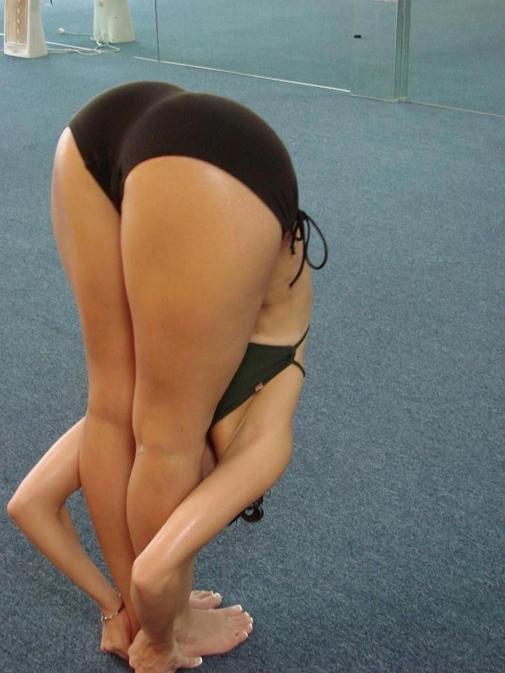 Bent over spread ass self shot