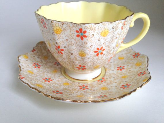 Paragon Chintz Teacup and Saucer, Hand Painted Bone China Tea Cup, Yellow Cup, English Tea Cups Teacups, China Tea Sets