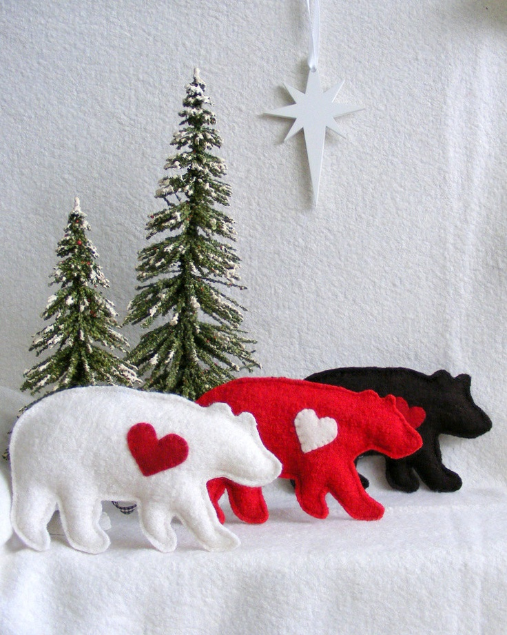Bear Christmas ornaments, decoration, door knob hangers, hostess gift, set of tree. $28.00, via Etsy.