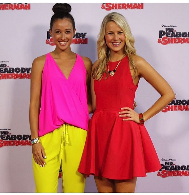 Saturday Disney babes #CandiceDixon wearing #DisneyCouture #MinnieMouse necklace with #TeiganNash #Sherman #MrPeabody #Disney #redcarpet
